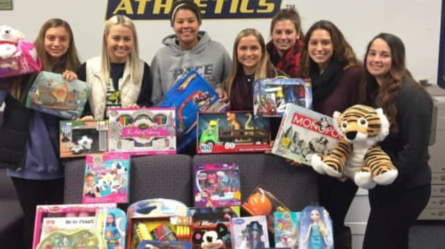 Pace Field Hockey recently donated toys to Maria Fareri Children's Hospital.