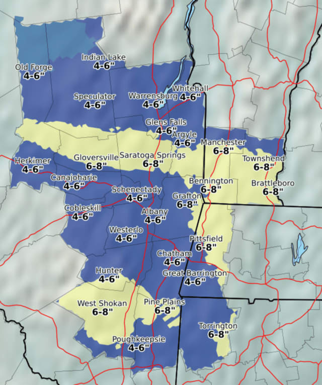 A look at snowfall accumulation projections for Dutchess and some points north.