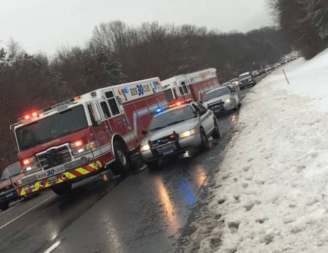 Echo Hose Hook & Ladder Co. 1  responds to a crash Saturday on Route 8 in Shelton.