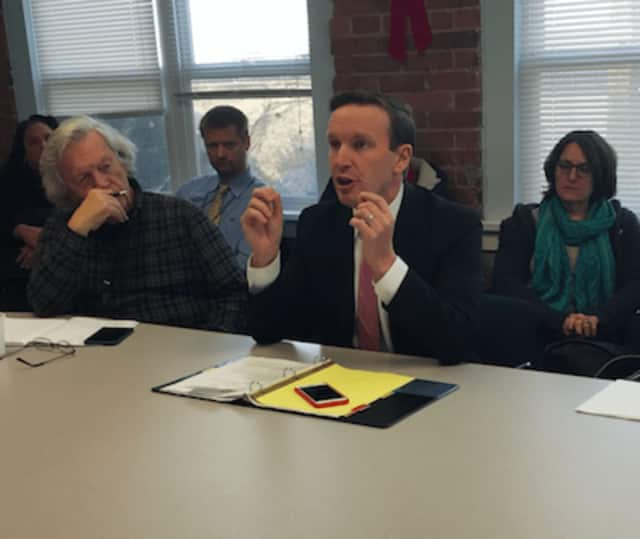 U.S. Sen. Chris Murphy speaking at a meeting with mental health advocates and addictions professionals Monday in Bridgeport.