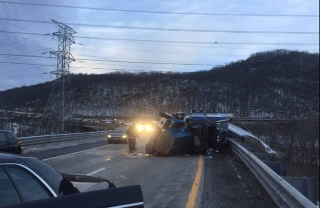 The crash, shown here, is on the ramp of I-287 and blocking the left lane.