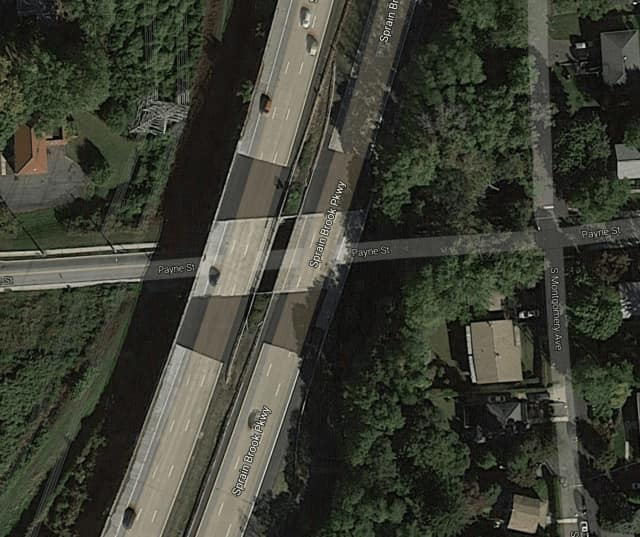 The segment of roadway on Payne Street under the Sprain Brook Parkway.