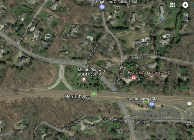 A car veered from the Merritt Parkway by Exit 41 in Westport Wednesday night, killing the driver and injuring a passenger, according to the Stamford Advocate.