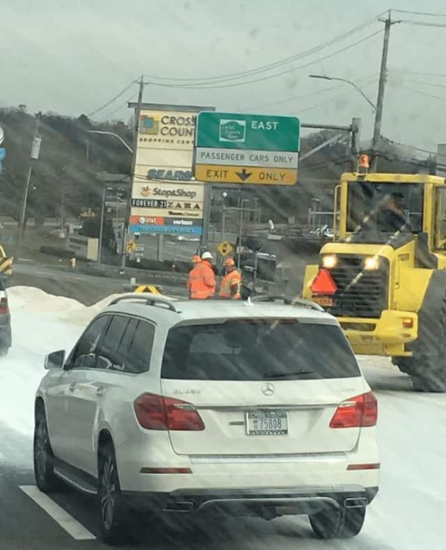 A rock salt truck overturned on I87 on Thursday.