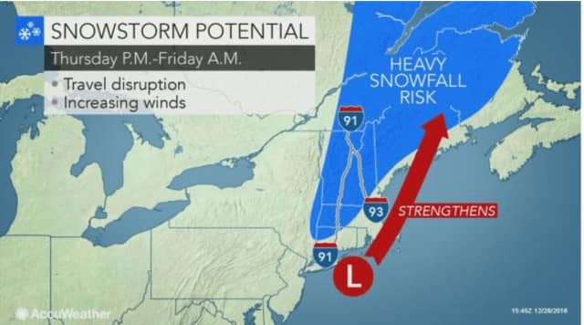 The Nor'easter that could dump 10-20 inches of snow in parts of New England could bring snow to the Hudson Valley, depending on its track.