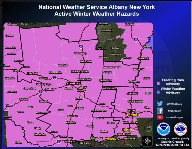 A look at counties covered by the freezing raining advisory.