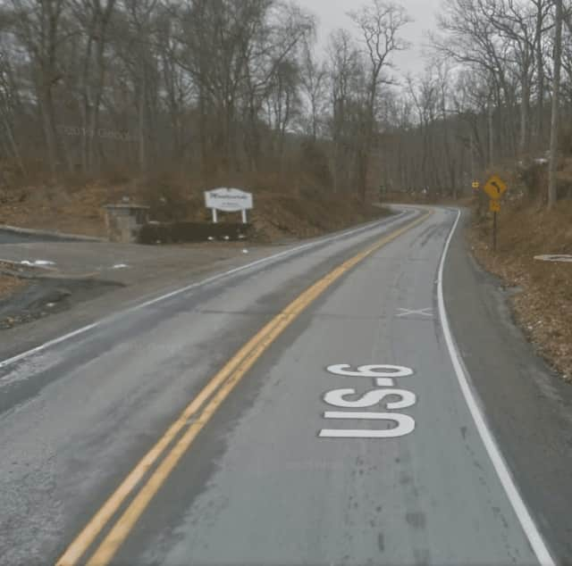 A look at the area where the head-on collision occurred Monday night in Cortlandt.