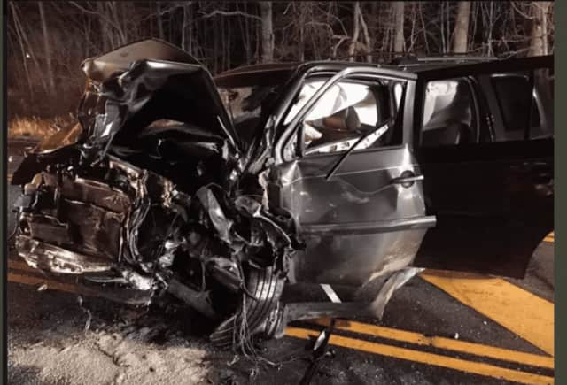 Two people were injured in a head-on crash on Route 35 in Lewisboro.