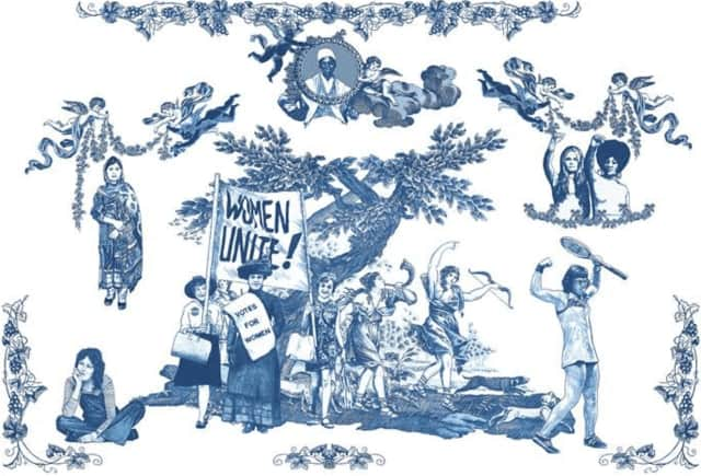 Laurel Garcia Colvin, Women's Rights are HUMAN RIGHTS!, 2016, Printed Cotton Fabric, Dimensions Vary.
