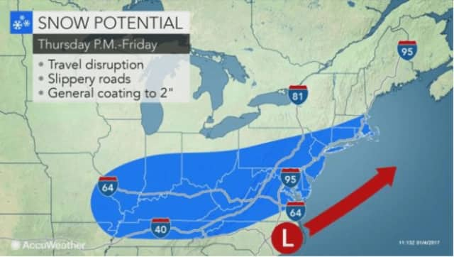 There is potential for snowfall in the Hudson Valley Thursday night into Friday morning.