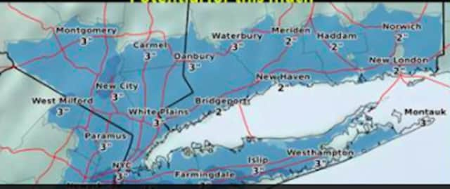 The maximum amount of possible snowfall from the area is 3 inches of accumulation, according to the National Weather Service.