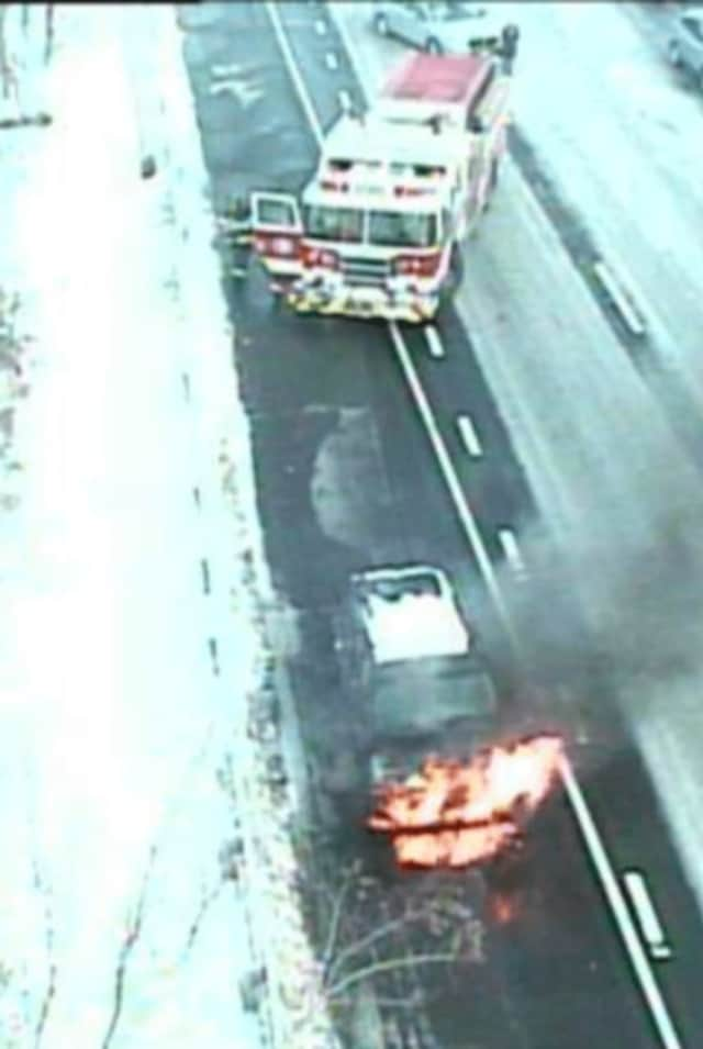 Greenwich Fire Department responded to a car fire on Interstate 95 on Sunday afternoon.