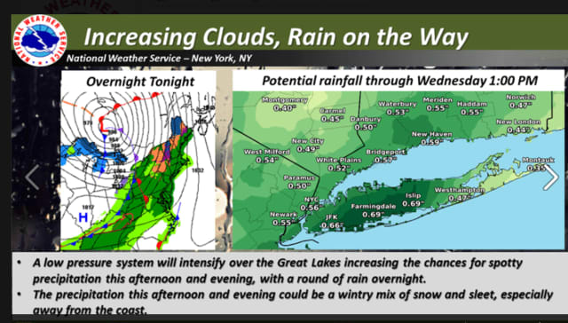 Rain, snow and sleet Tuesday evening will become all rain after 1 a.m.,