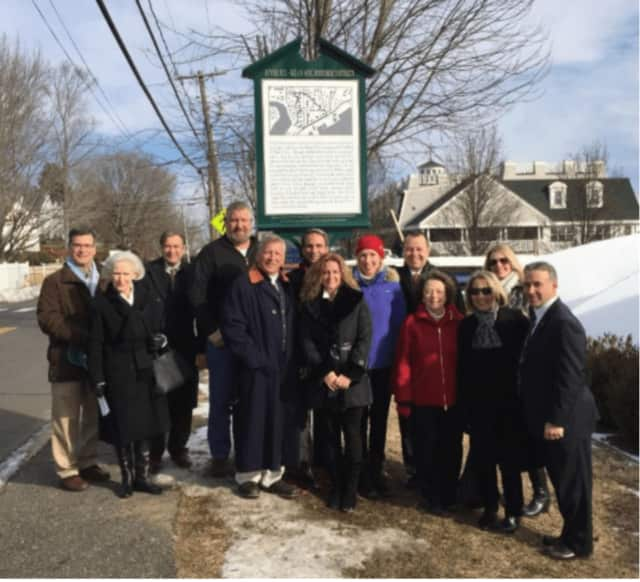 The Greenwich Preservation Network dedicated a new historic marker in Cos Cob. See story for photo IDs.