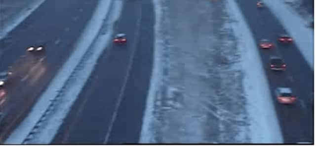 A look at conditions on I-87 in Rockland near the Garden State Parkway connector just before 5 p.m. Saturday.