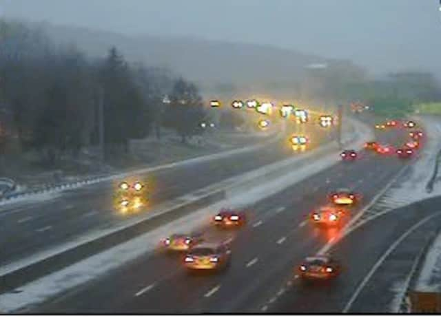 Conditions on I-287 at the Saw Mill Parkway interchange at 5 p.m. Saturday.