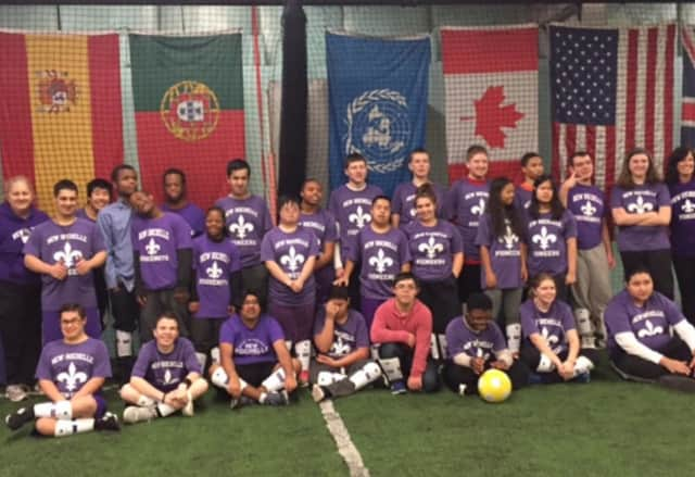 The New Rochelle School District's Special Olympic soccer team.