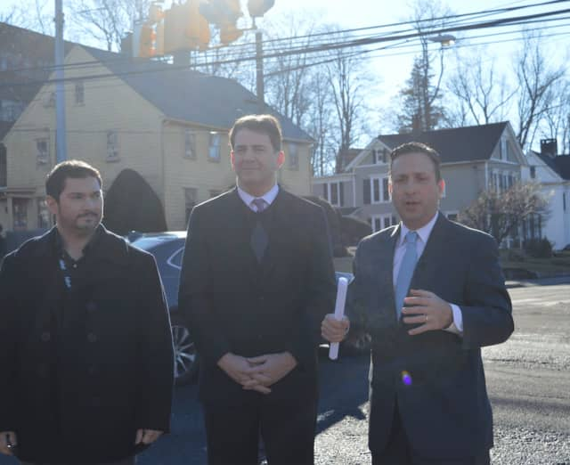 From left, Project Engineer Travis Woodward, State Rep. Chris Perone (D-Norwalk) and Senate Majority Leader Bob Duff (D-Norwalk, Darien) speak about a $2.8 million intersection improvement project in Norwalk.