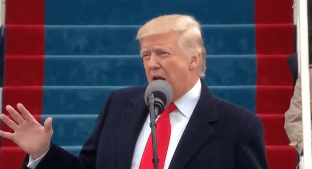 Donald Trump delivers his inaugural address  in front of the Capitol Building on Jan. 20.