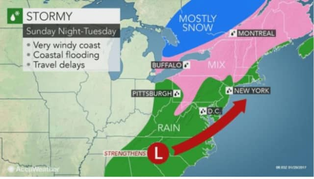 A look at areas where the Nor'easter could include a wintry mix or snow (shaded in pink).
