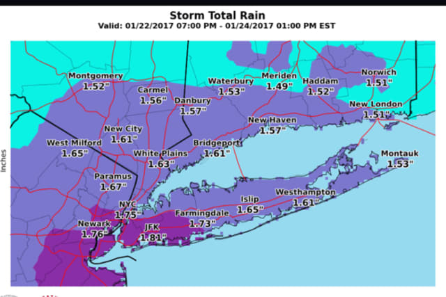 Projected rainfall amounts from the Nor'easter that will impact the area late Sunday night into early Tuesday morning.