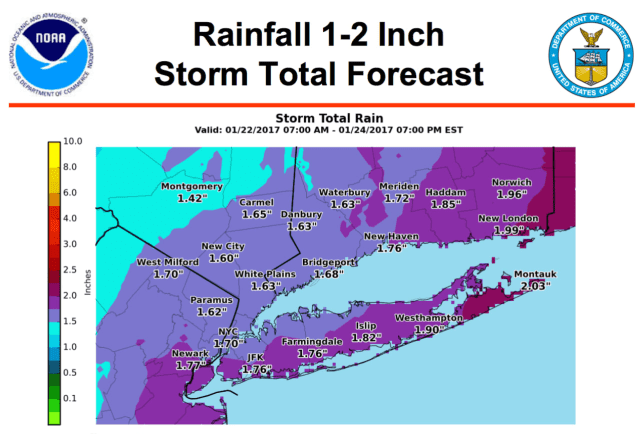 Up to 2 inches of rain could fall across Fairfield County as a nor'easter begins to roll in late Sunday.