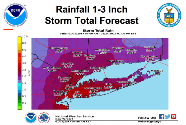 A nor'easter will bring heavy rain to Fairfield County on Monday.