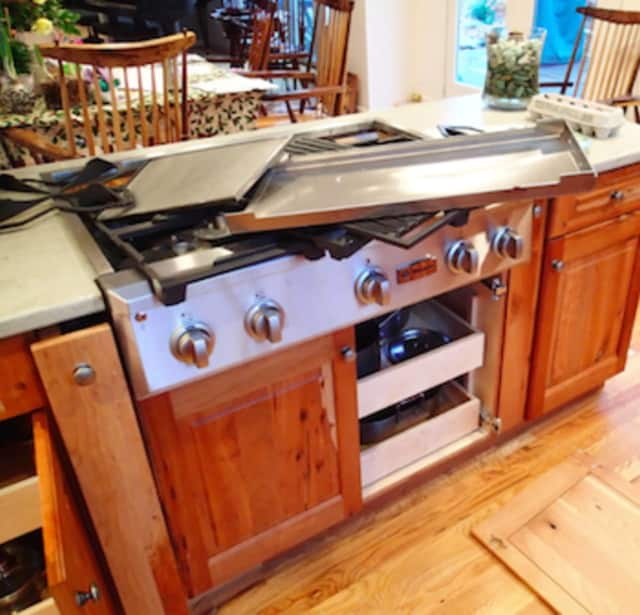 Damage caused by a small propane explosion in the kitchen of a Westport home Tuesday morning. No one was hurt.