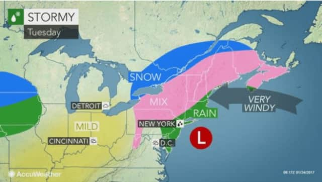 While the brunt of the Nor'easter has passed, Tuesday will remain stormy with plenty more rain and sleet continuing north of I-84.