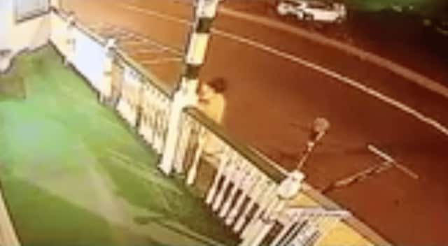 The Orangetown Police are asking for the public's help in identifying the person seen in a video destroying a fence.