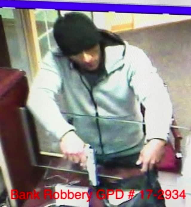 The suspect in an armed bank robbery in Greenwich last month.