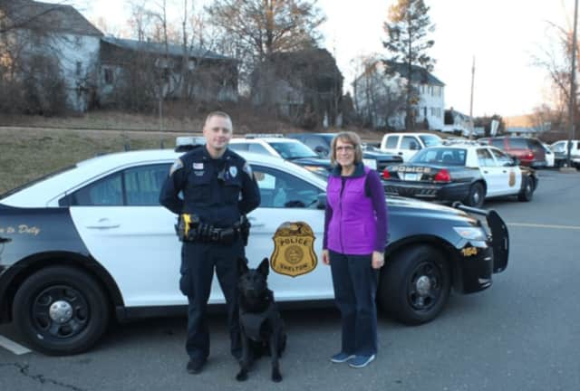 Shelton Police Department K9, Stryker, has received a bullet and stab protective vest.  Margie Mills of Shelton sponsored the vest.