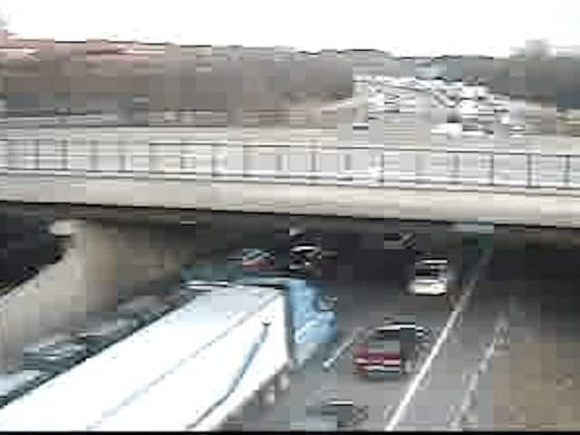 A look at delays on eastbound I-287 at Exit 4 (Knollwood Road) just past 4 p.m. Saturday.