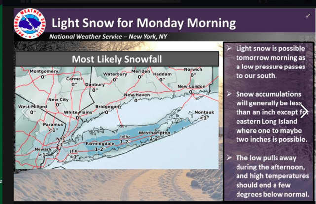 Areas farther south, including New York City, could see an inch of snow accumulation Monday.