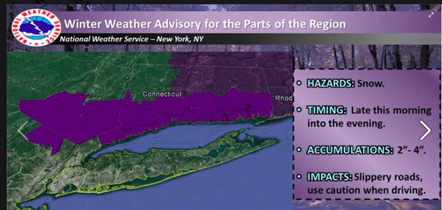 A look at areas covered by the Winter Weather Advisory (in purple).