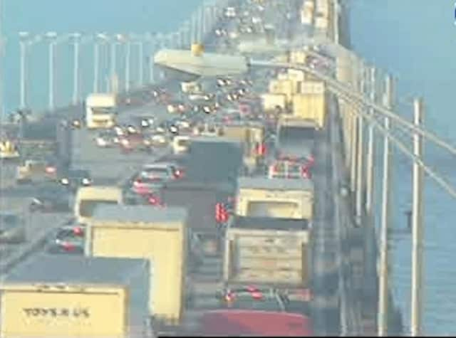 A look at conditions on Rockland-bound Tappan Zee Bridge span just before 9:30 a.m. Wednesday.