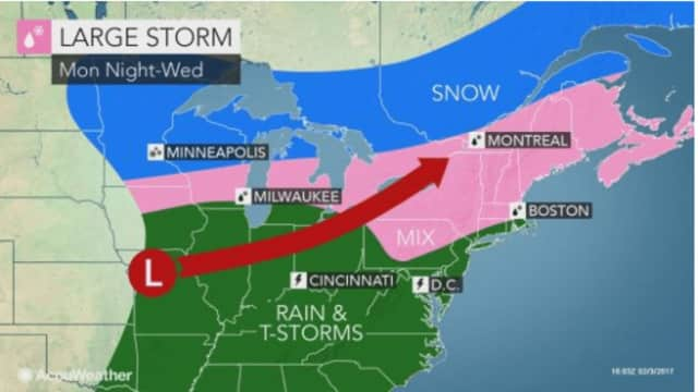 The storm is expected to impact the Hudson Valley Monday night through Wednesday.