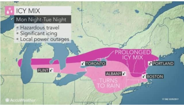 Areas north of Interstate 287 in the Hudson Valley are expected to see snow, sleet and freezing rain overnight Monday into Tuesday, when a changeover to rain occurs.