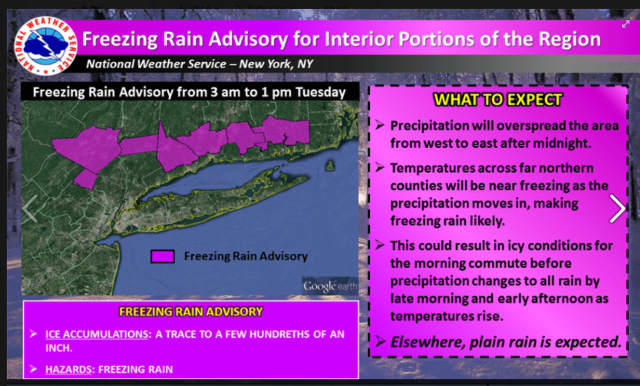 The Freezing Rain Advisory is in effect from 3 a.m. to 1 p.m. Tuesday in Putnam.