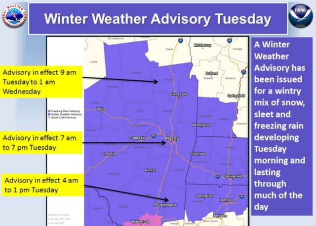 The advisory is in effect from 4 a.m. to 1 p.m. Tuesday.