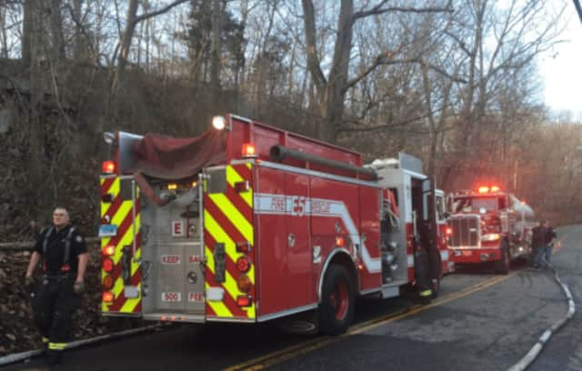 Greenwich Fire Department are on the scene of a house fire.