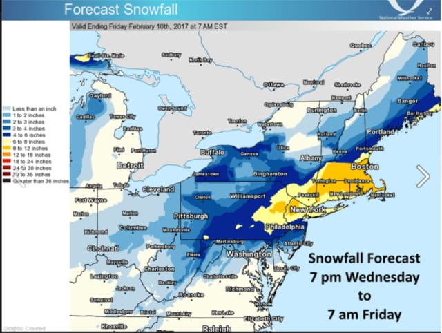 A look at projected snowfall totals for Thursday's winter storm.