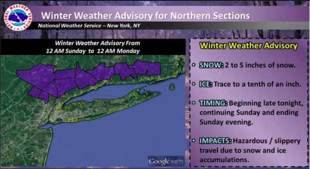 A Winter Weather Advisory is in effect for Westchester, Putnam and Rockland from midnight Sunday to midnight Monday.