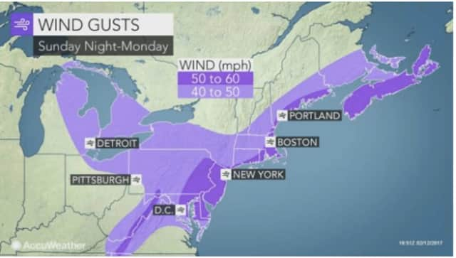 Winds will gust between 40 and 50 miles per hour on Monday in Dutchess, with scattered power outages possible.