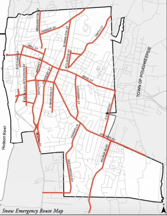 The City of Poughkeepsie's Snow Emergency route map.