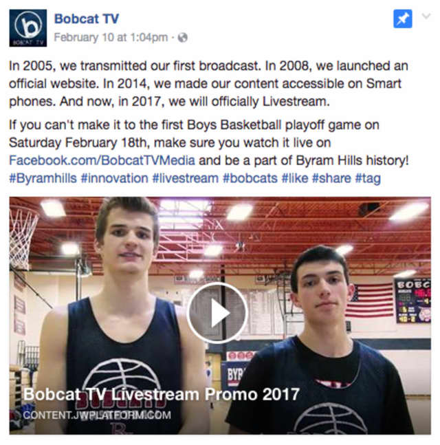 Bobcat TV, which is the television channel for Byram Hills High School, announced that it will offer livestreaming.