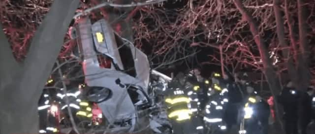 A look at the crash scene just over the Bronx/Westchester border.