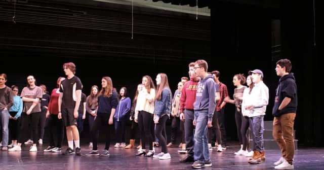"""Weston High School students rehearse for """"Little Shop of Horrors."""""""