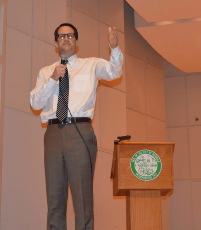 U.S. Rep. Jim Himes at a town hall meeting with voters last week in Norwalk.