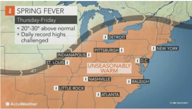 The Hudson Valley -- and Northeast -- will enjoy unseasonably warm temperatures the next two days.